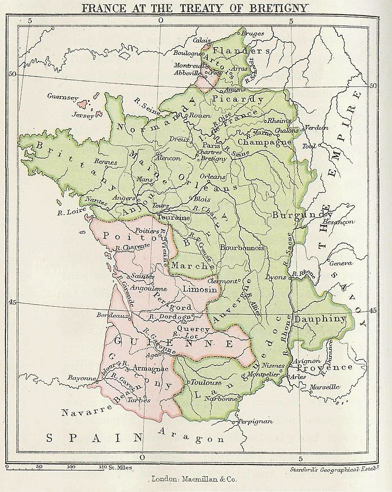 English Map Of France.Map Showing 14th Century France In Green With The Southwest And