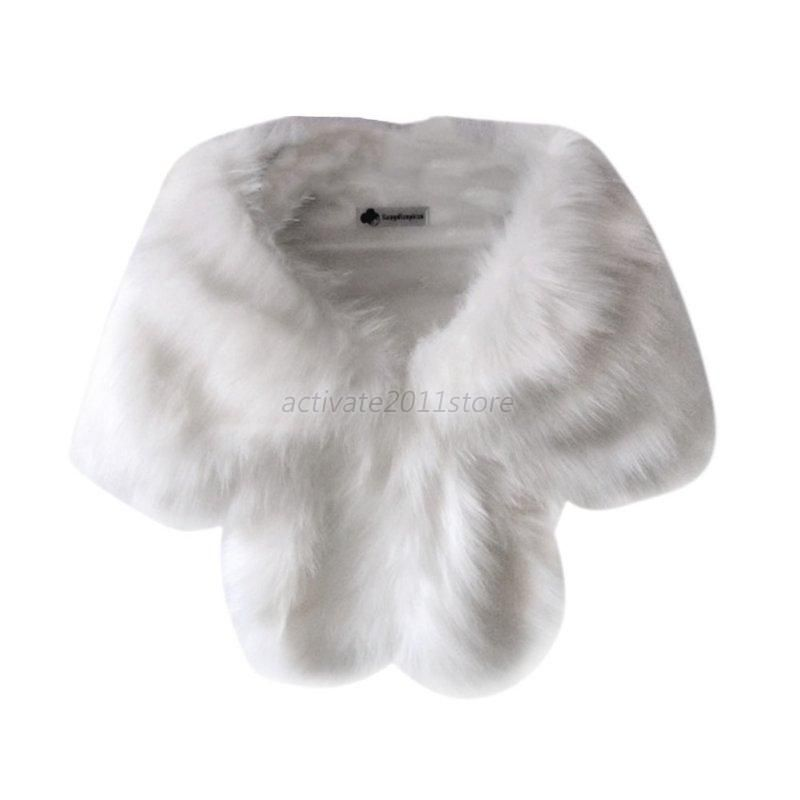 Women Faux Fur Long Warm Shawl Bridal Wedding Stole Wrap Shrug Scarf Tops UK