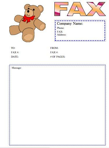 What could be cuter than a teddy bear fax? This printable fax - cute fax cover sheet