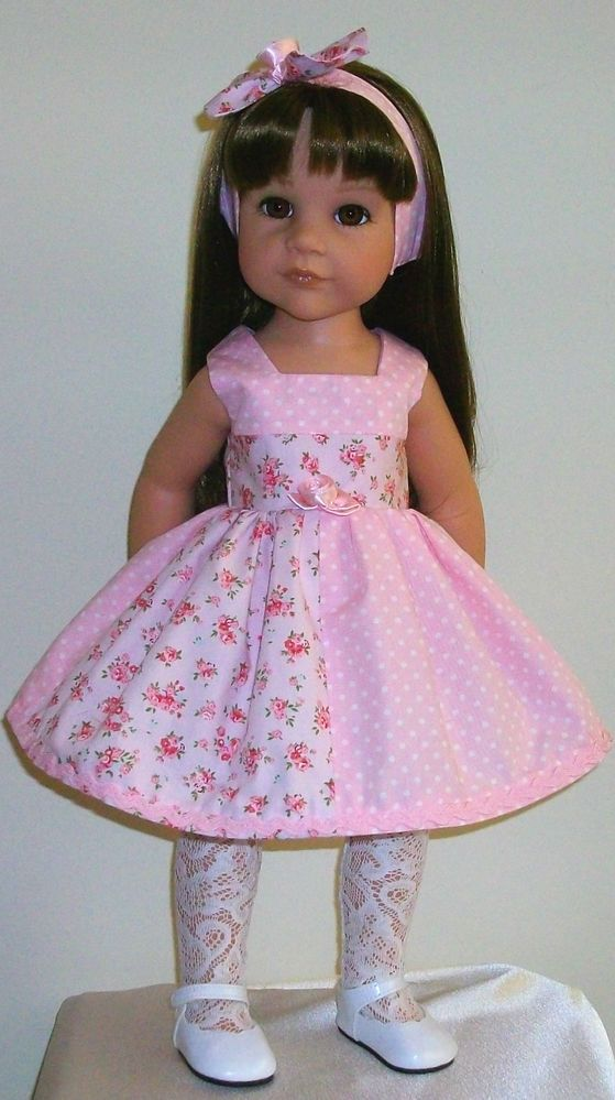 Vintagebaby roses & polka dots dress & alice band dollGotz/Designafriend Hannah
