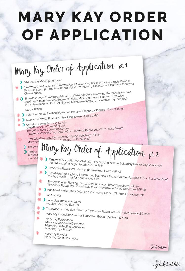 Order Of Application Mary Kay Consultant Mary Kay Mary Kay Cosmetics