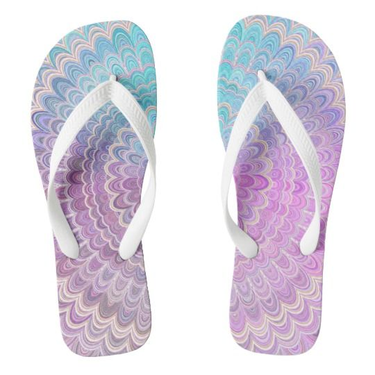 78c197c03bc6 Mandala Flower in Pastel Pink and Light Blue Flip Flops