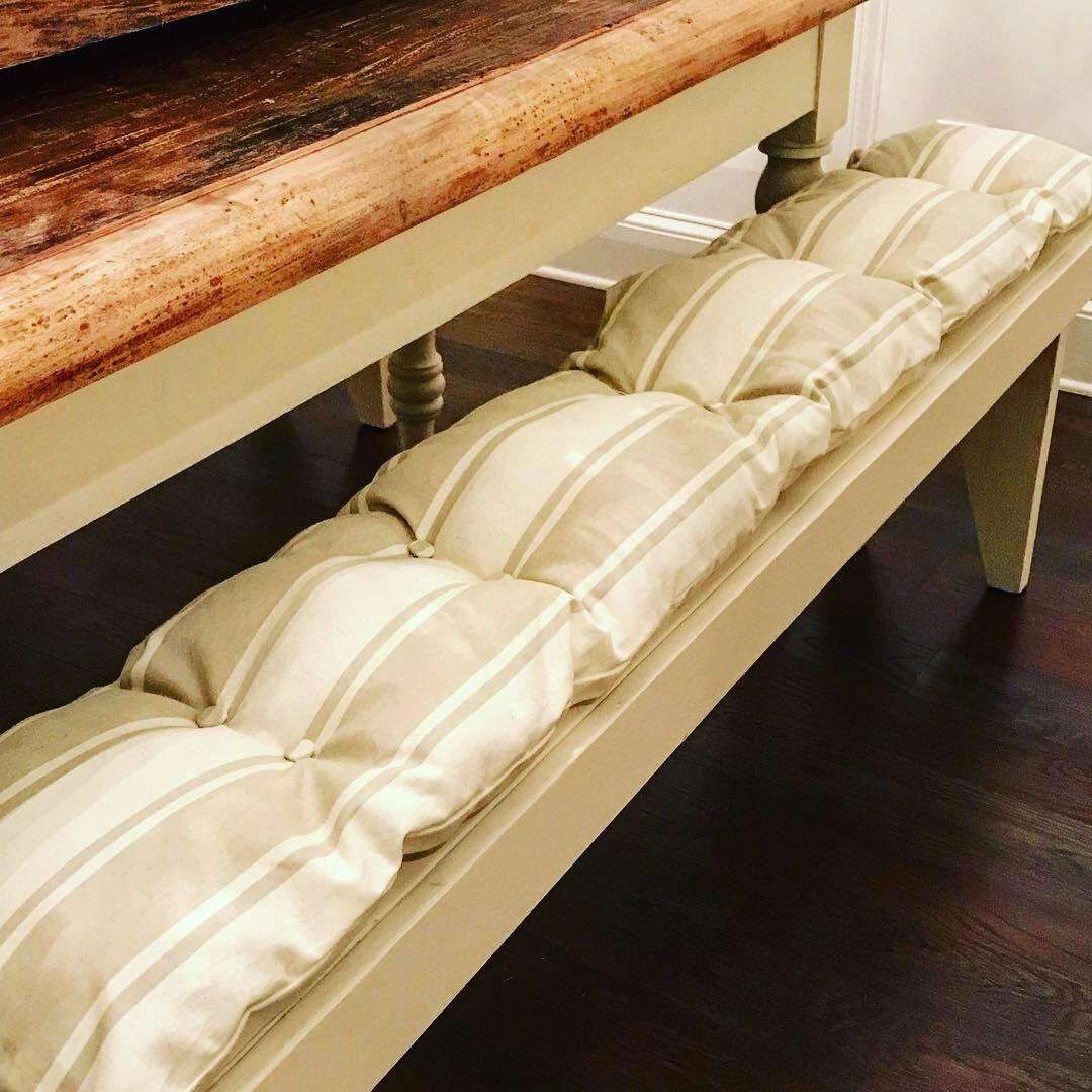 Tufted bench cushion I made. Farmhouse bench diy, Diy
