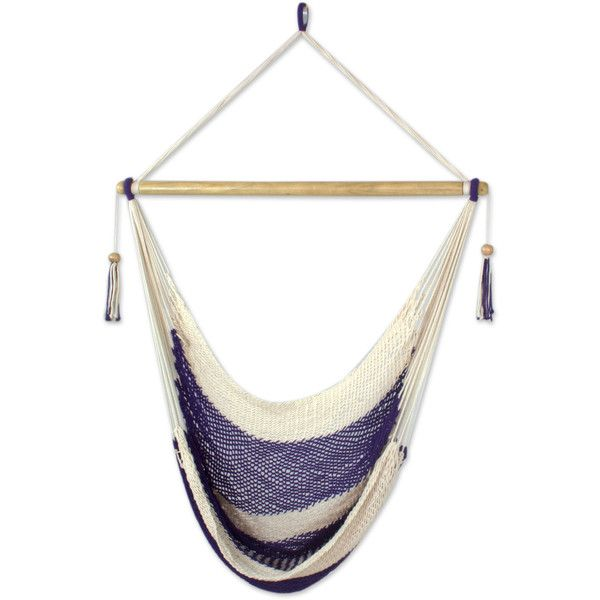 NOVICA Handwoven Purple Cotton Nicaraguan Hammock Swing (£50) ❤ liked on Polyvore featuring home, outdoors, patio furniture, hammocks & swings, cotton hammock, novica, hand woven hammock and woven hammock