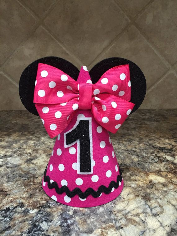 Minnie Mouse Birthday Hat Pink First By MyDayCreations