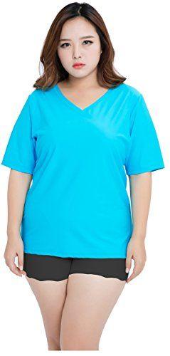 f880194e11939 ilishop Women's Plus Size Rash Guards Solid UPF 50 Swim Shirt Rashguard