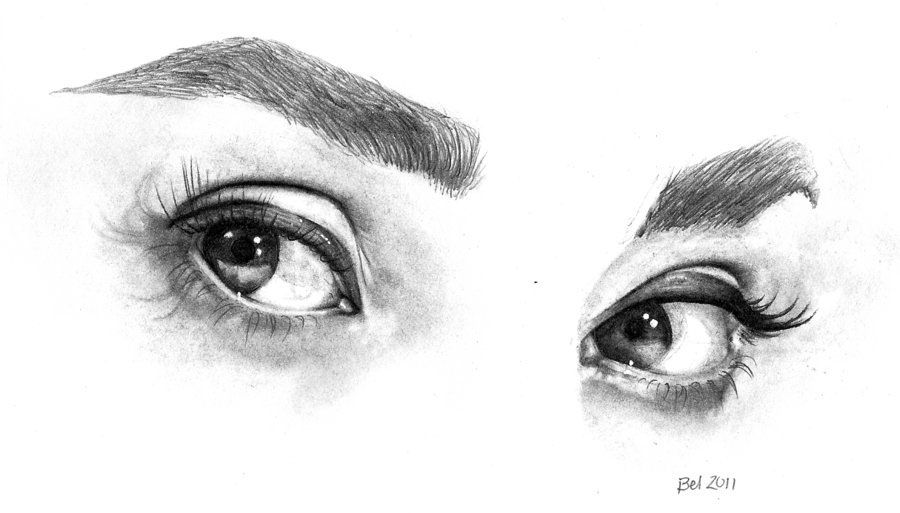 36 eyes pencil drawing