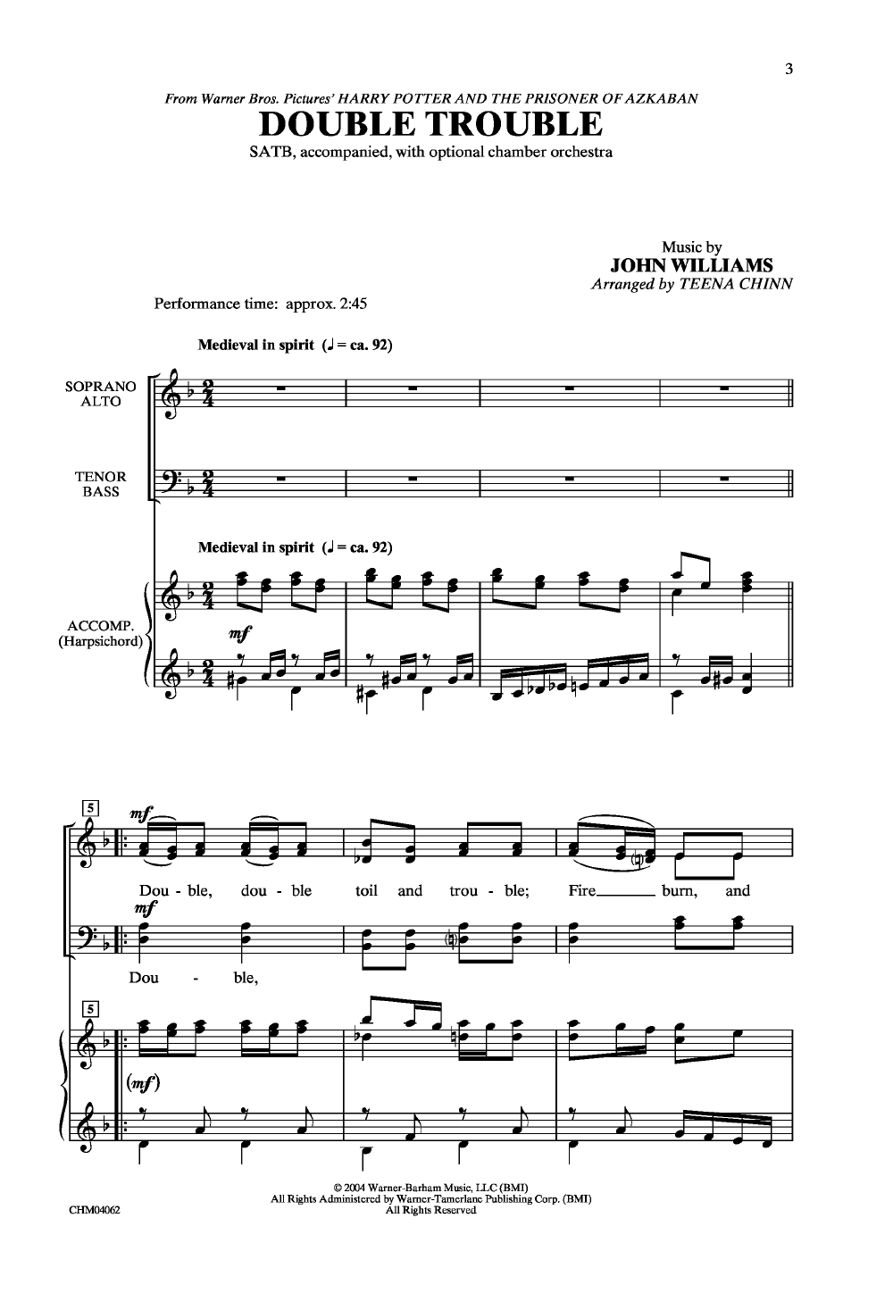 Double Trouble (SATB ) by John Williams/arr  | J W  Pepper