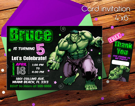 Hulk Invitation Hulk Birthday Hulk Birthday Invitation