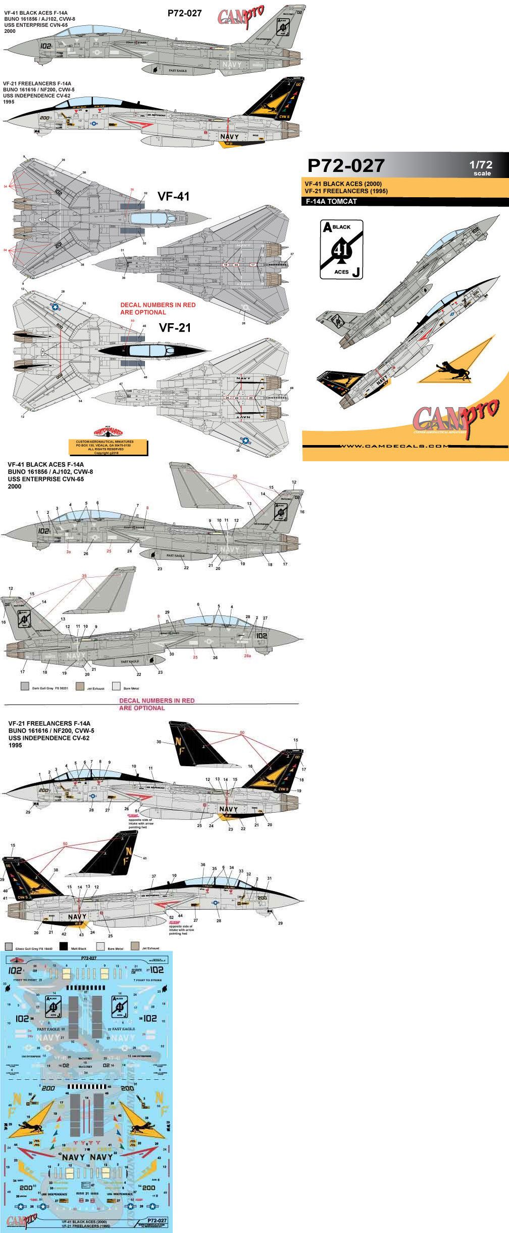 Cam Pro Decal 1 72 Scale P72 027 F 14a Tomcat Vf 41 Black Aces 2000 Ebay Decals Map Stuff To Buy