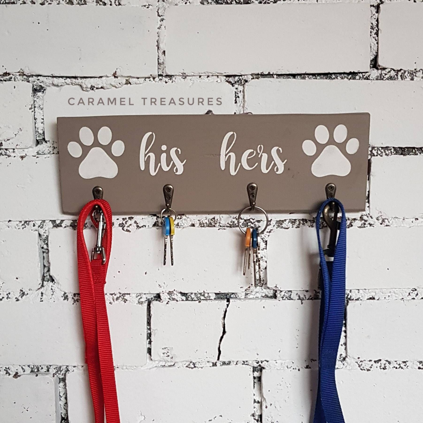 Wedding Gifts For Dog Lovers: Grey His Hers Dog Key Holder For Wall