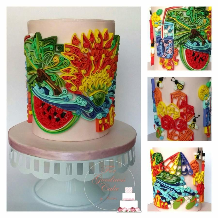Sweet Summer Collaboration - Sugar Quilling Cake by Forgoodnesscakeinks