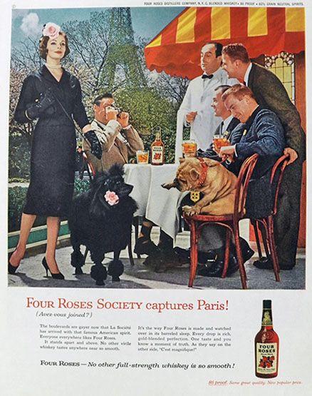 1958 FOUR ROSES WHISKEY Vintage Look REPLICA METAL SIGN Cute ENGLISH BULLDOG