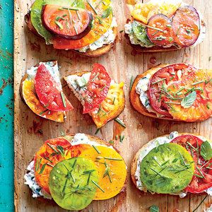 Who needs two slices of bread when juicy, plump tomatoes top these cool cucumber sandwiches? Tip: Always use a serated knife, which cuts through the tomato's skin without damaging flesh and losing juice.