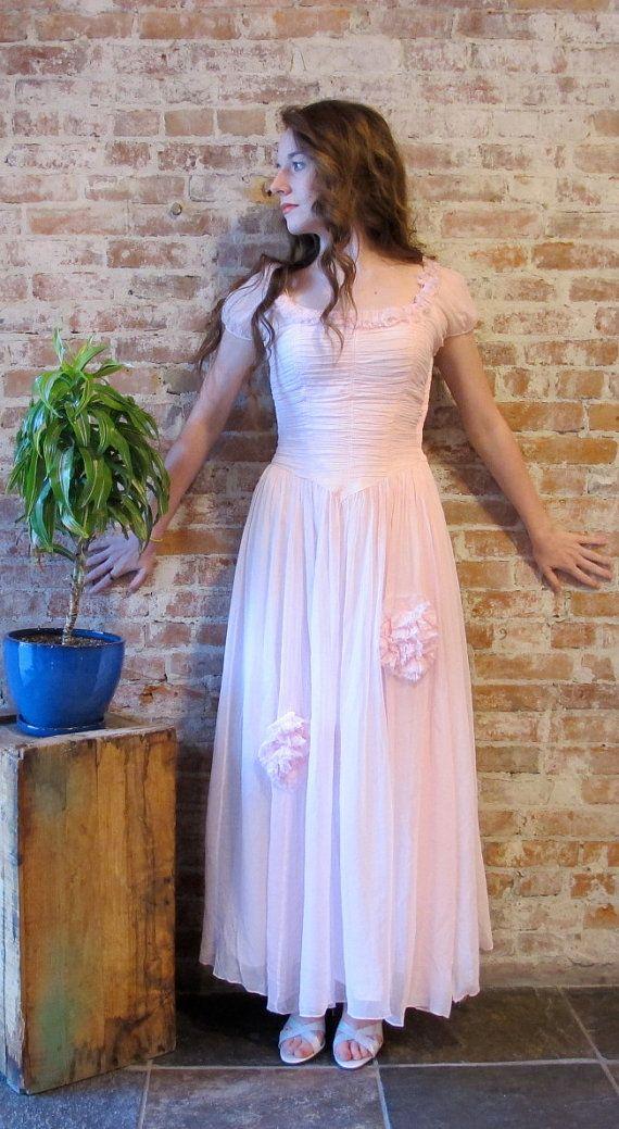 Crêpe pure Vintage robe - robe de bal de-1950s des années 1940 - rose pâle - - ruché corsage - doublé - petite taille