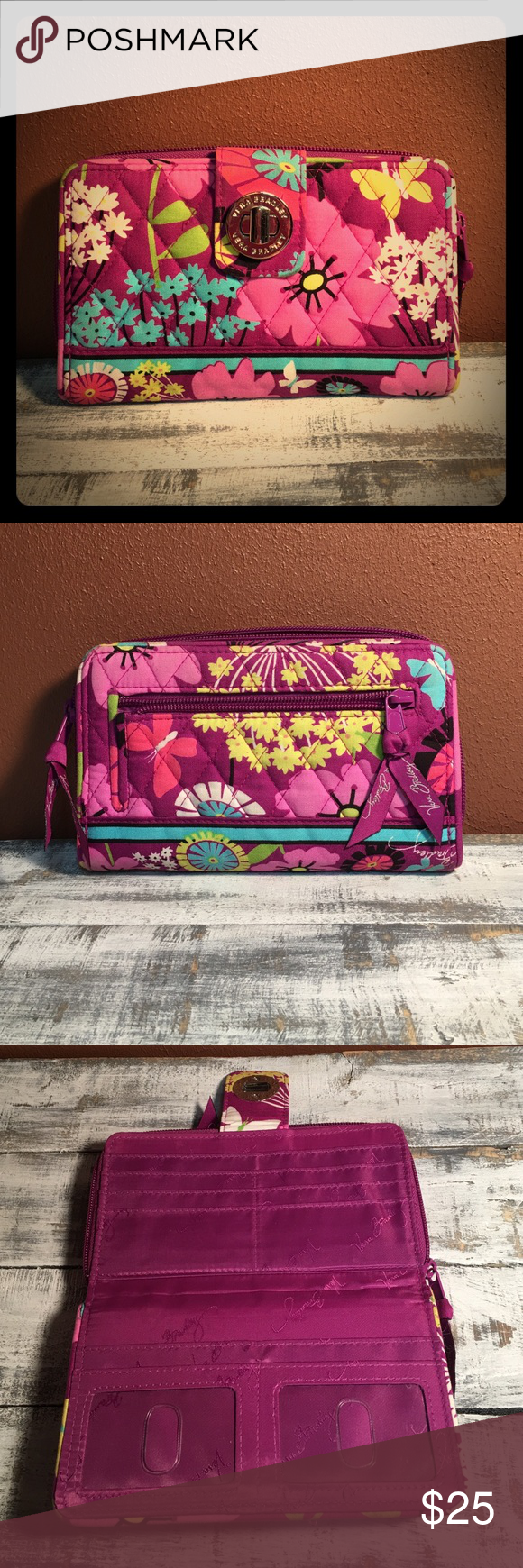 Vera Bradley Turn Lock Wrap Around Zipper Wallet This item is in like new condition. It does have one very small spot on it ( to the top left of the lock) Please see photos. Everything else about this wallet is in awesome shape!!!! Vera Bradley Bags Wallets