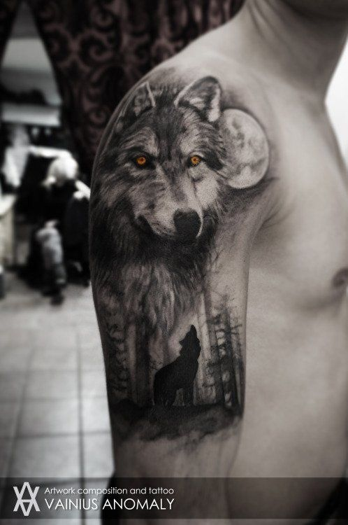 Wolf Forest Moon Tattoo Wolf Tattoo Sleeve Wolf Tattoos Men Wolf Tattoos For Women