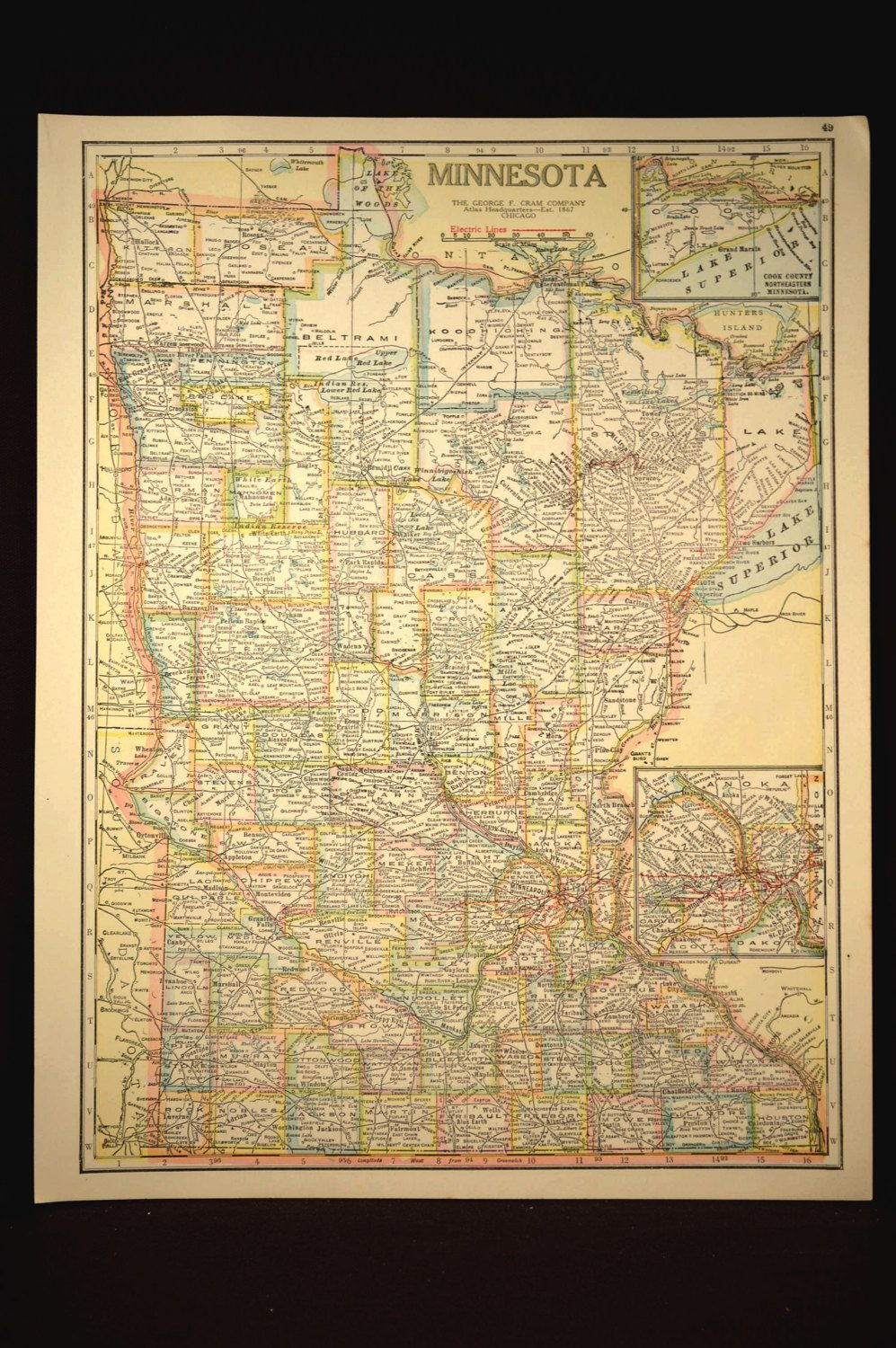 TWO SIDED Antique Road Map Minnesota Map Original Highway Roadway ...