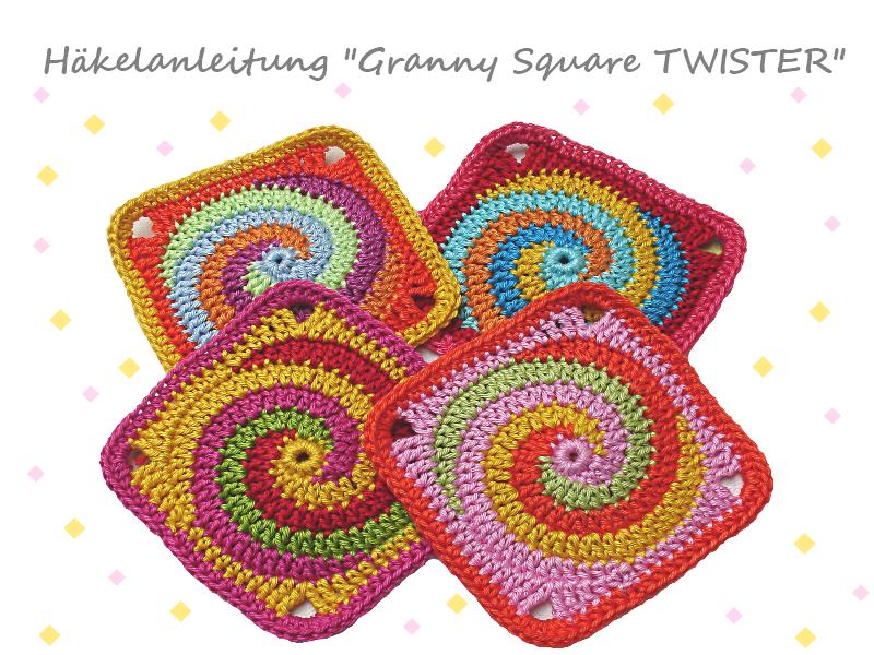 Granny Square Twister spiral - crochet pattern, photo-tutorial