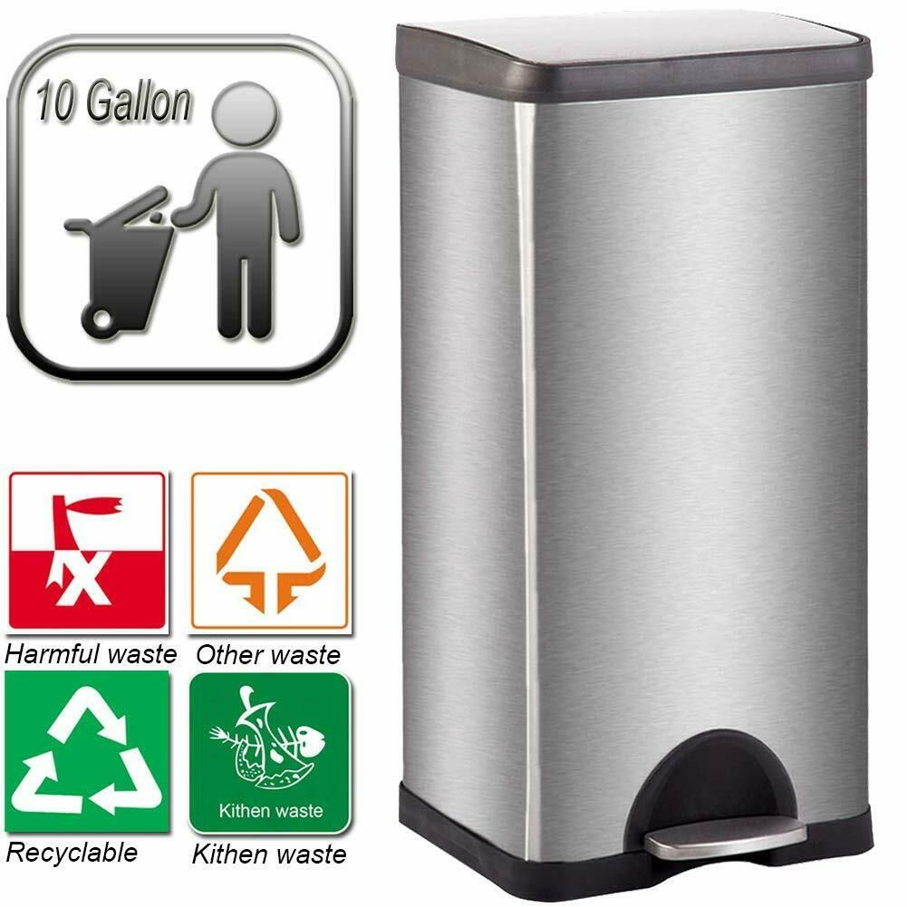 Details About 10 Gallon Trash Can With Lid For Office Kitchen Stainless Steel Metal Trash Can Metal Trash Cans Stainless Steel Metal Trash Can