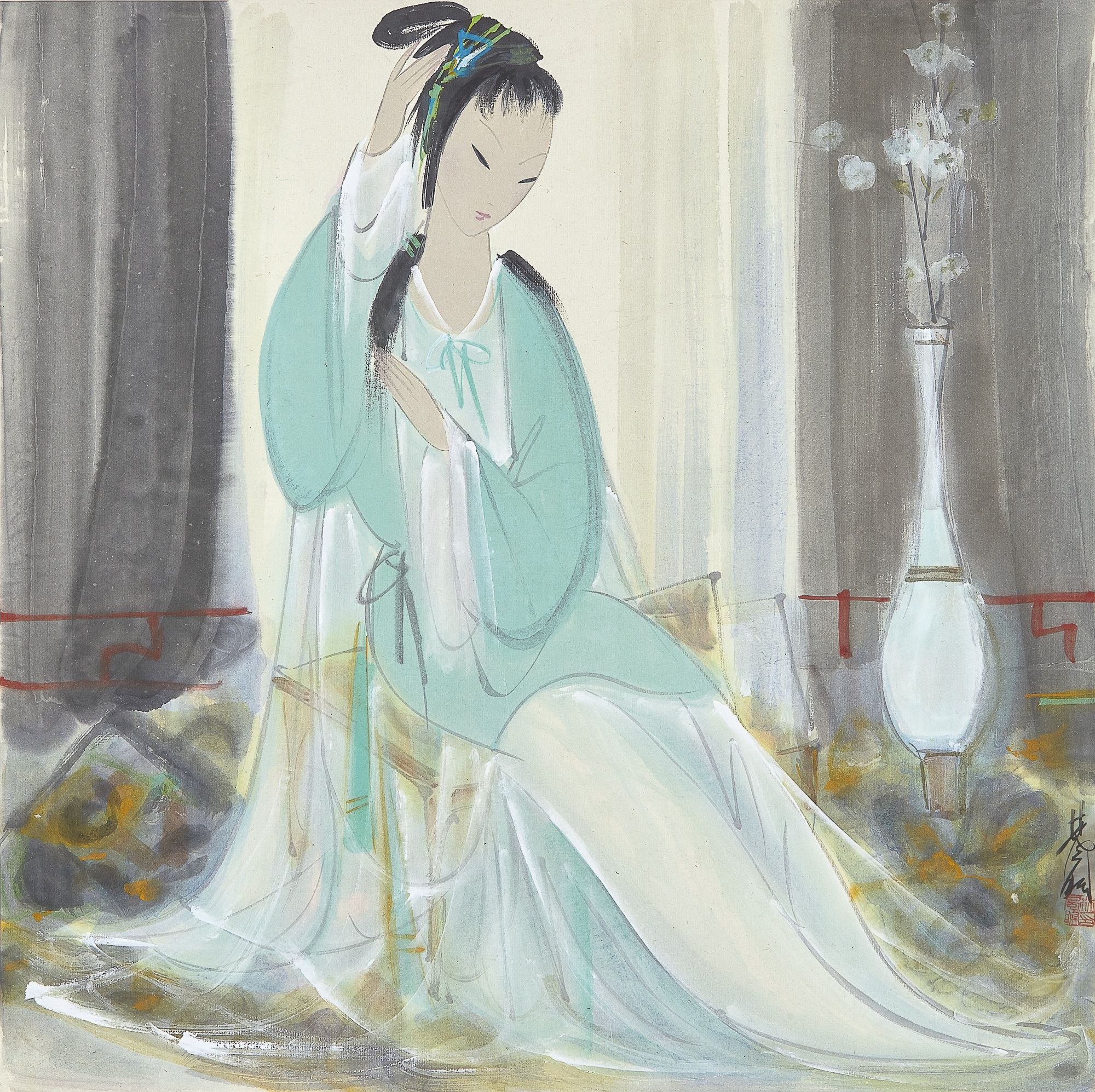 Lin Fengmian (1900-1991) LADY TIDYING HAIR. 林風眠 (1900-1991)  理鬢圖 設色紙本 立軸 款識: 林風眠。  鈐印:「林風瞑印」。 69.2 by 69.2 cm. 27 ¼ by 27 ¼ in.