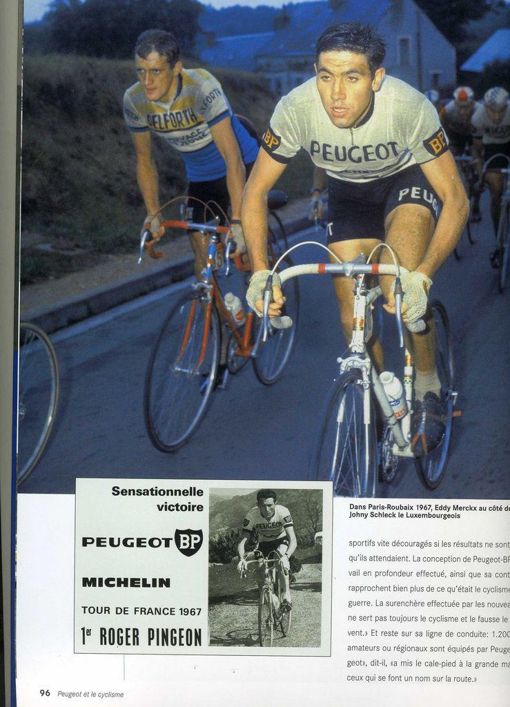 Eddy Merckx on Peugeot Peugeot bike, Sports hero