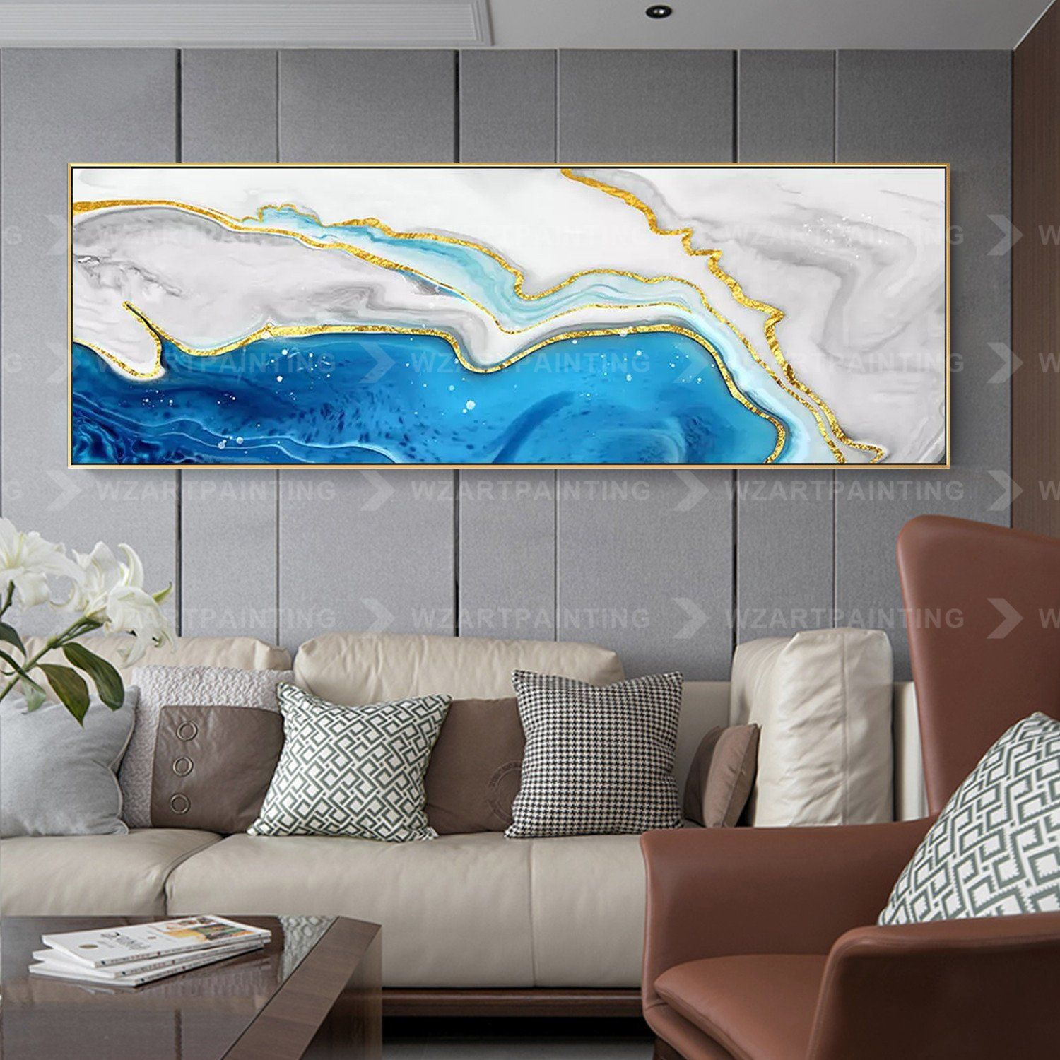 Framed Wall Art Gold Blue Sea Abstract Print Painting On Etsy Wall Art Pictures Gold Wall Art Framed Wall Art