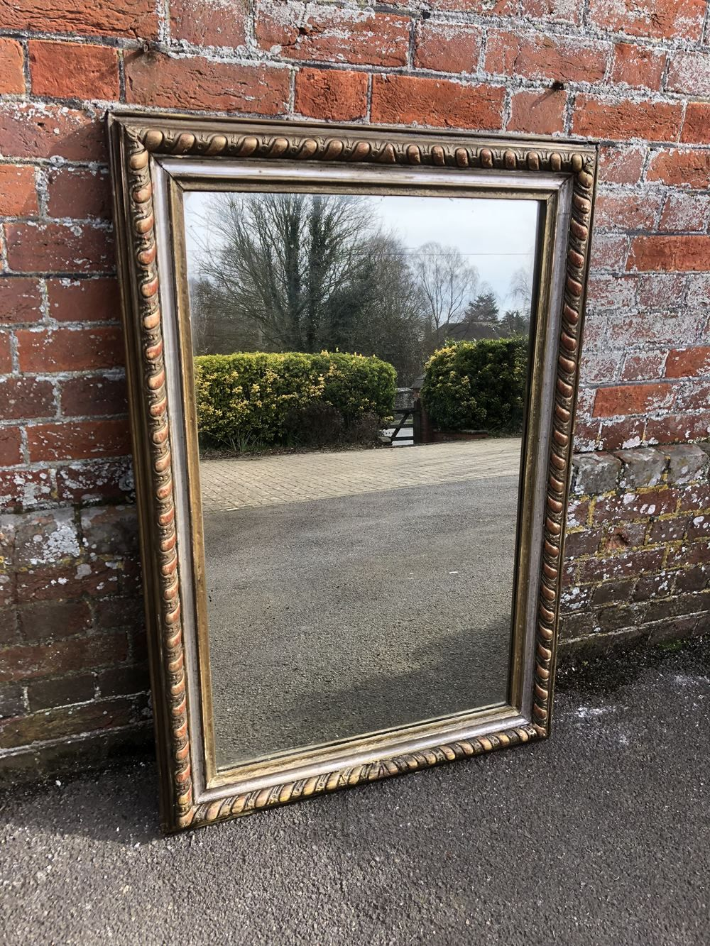 A Wonderful Useful Size Antique 19th Century French Carved Wood Gesso Original Silver Gilt Distressed Mirror Antique Mirror Distressed Mirror Large Antique Mirror
