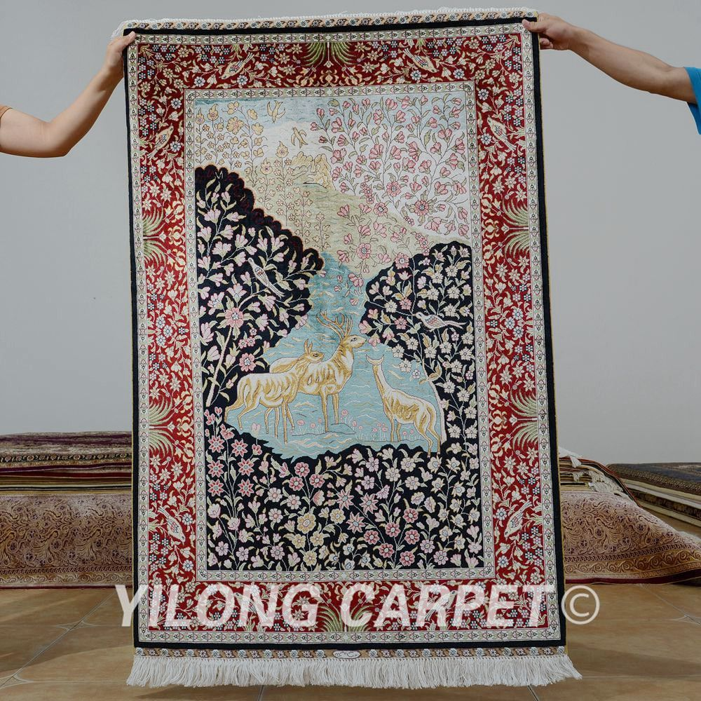 Rug Design Quality Hand Knotted Directly From China Rugged Suppliers Yilong Antique Oriental Deer Carpet Exquisite
