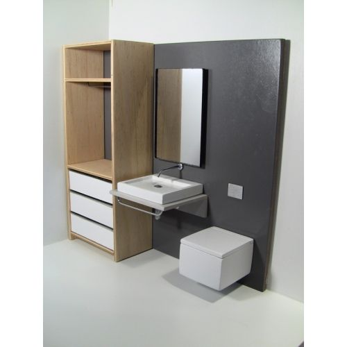 contemporary dollhouse furniture. Modern Dollhouse Furniture M112 PODS Single Vanity Bath Unit With Toilet And Wardrobe Contemporary R
