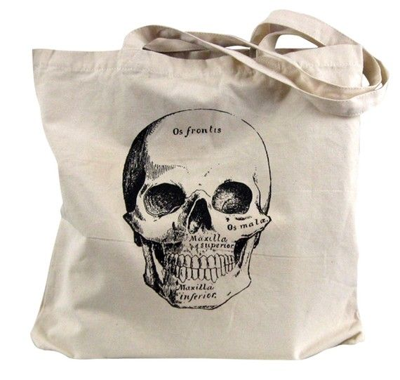 Skull Tote Bag Medical Anatomical By Theboldbanana