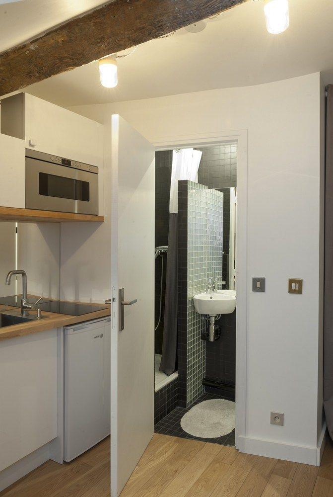 entrée salle de bain studio paris agencement 10m2 décoration ...