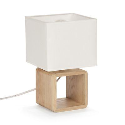 Lampe à poser carrée en bois en coton blanc H25cm JOLIE CHAMBRE