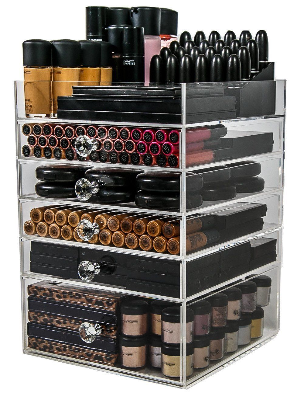 Amazon.com: Acrylic Makeup Organizer Cube | 5 Drawers Storage Box ...
