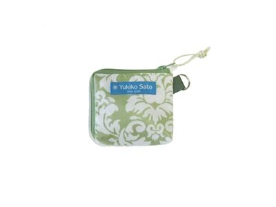 Mint Green Damask PVC Laminated cotton So CUTE! 2 side zipper pouch easy access ! $20