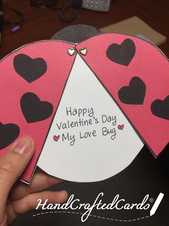 Ladybug Valentines Day Card Wings Open Up By Handcraftedcard
