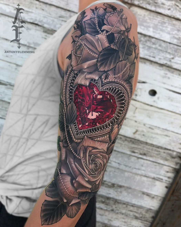 Ruby Heart Roses Arm Tattoo Tattoo Idea Floral Gem Heartjewel Rose In 2020 Half Sleeve Tattoo Girl Arm Tattoos Tattoos