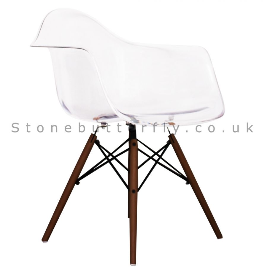 Astounding Charles Ray Eames Style Daw Arm Chair Walnut Legs Clear Ncnpc Chair Design For Home Ncnpcorg