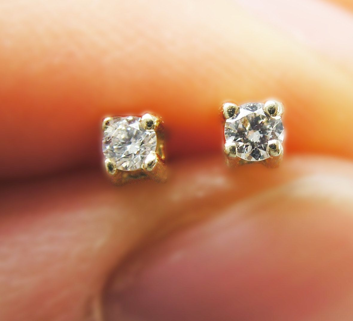Beautiful 14k Gold Diamond Stud Earrings By Weddingrings585, $29900 I Like  Small, With Simple
