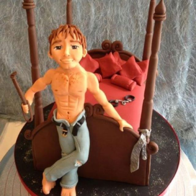 Fifty Shades cake! I love the riding crop in his hand! ;) -- This is be our BABYCAKE! ;p @Trina Martirez hihih x