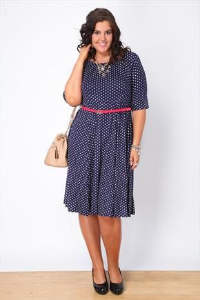 Navy And White Polka Dot Skater Dress With Red Patent Belt