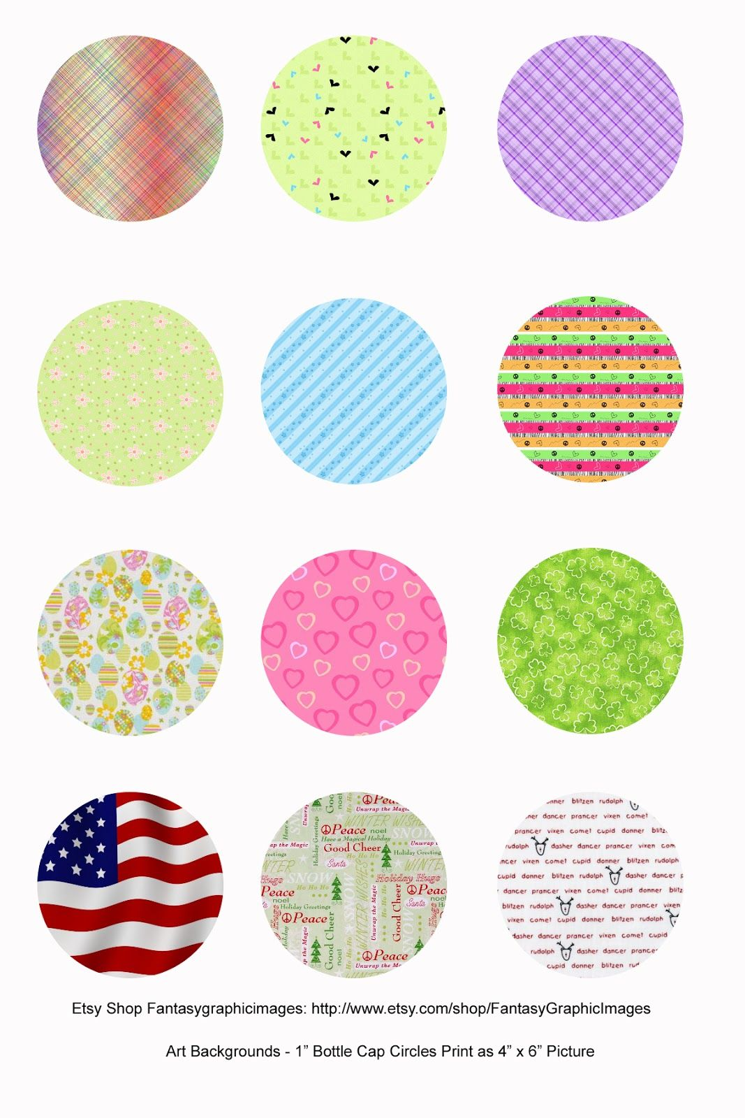 Free Printable Collage Sheets Free Bottle Cap 1 Circle Collage Sheets From Etsy Shop Fantasygraphic Bottle Cap Crafts Printable Collage Sheet Collage Sheet
