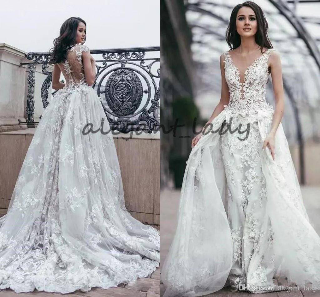 bfded86e2ed15 2018 Overskirt Lace Princess Wedding Dresses Sheer Plunging Neck with 3D  Flower Illusion Back Tulle Garden