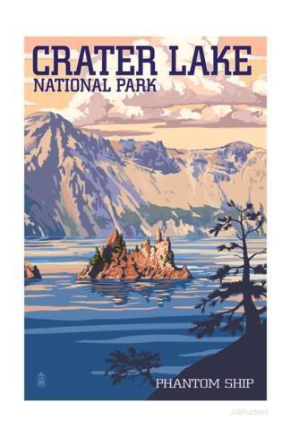 'Crater Lake National Park, Oregon - Shoreline and Sunset' Posters - Lantern Press   AllPosters.com