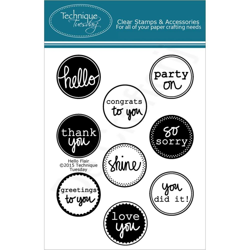 Technique Tuesday-Clear Stamps. Bring a positive attitude to your paper crafts! These stamps are made of the highest quality photopolymer. This package contains Hello Flair: a set of nine clear stamps on one 4x3 inch backing sheet. Price €9,99