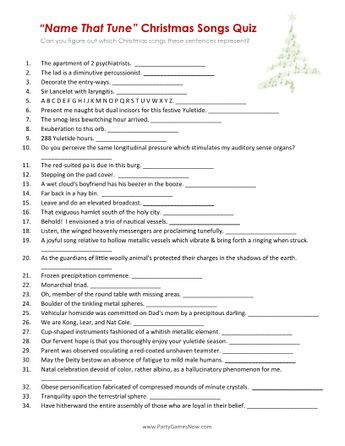 Superb image with christmas song quiz printable