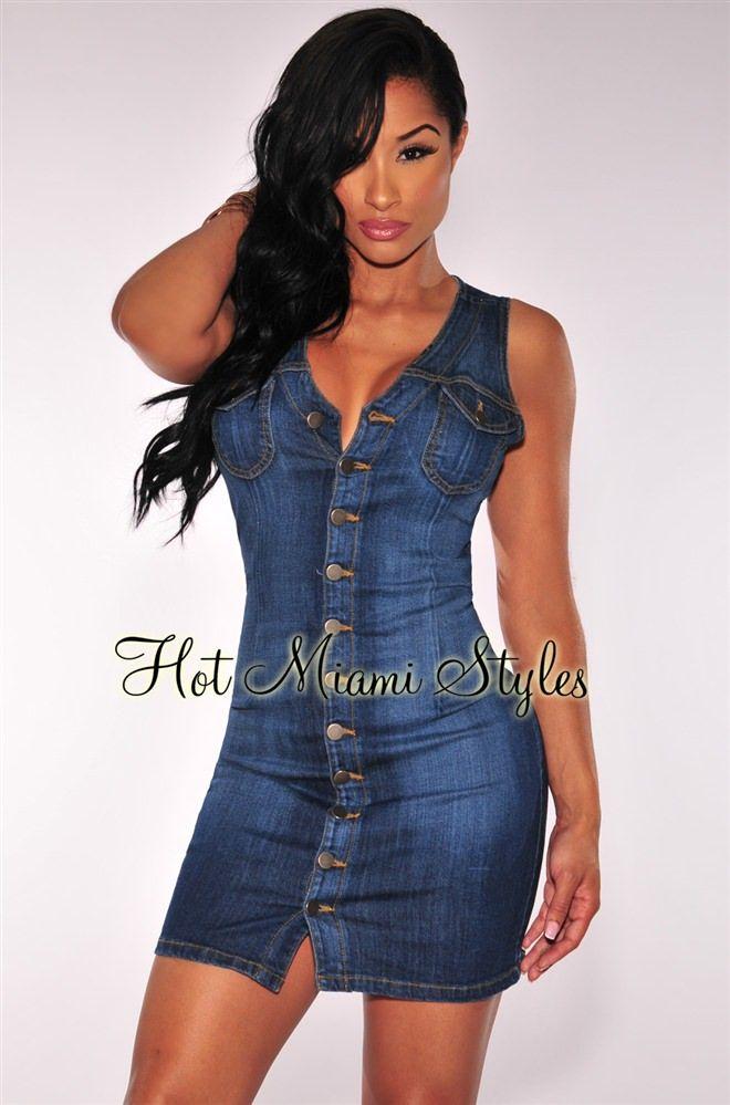 Denim Button Down Sleeveless Dress