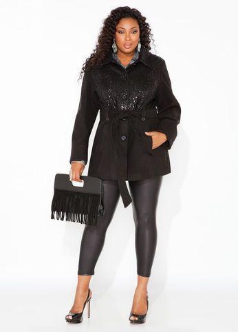 Ashley Stewart Sequin Coat, Faux Leather Animal Print Legging, Black Fringe Clutch and Peep Toe Buckle Bootie
