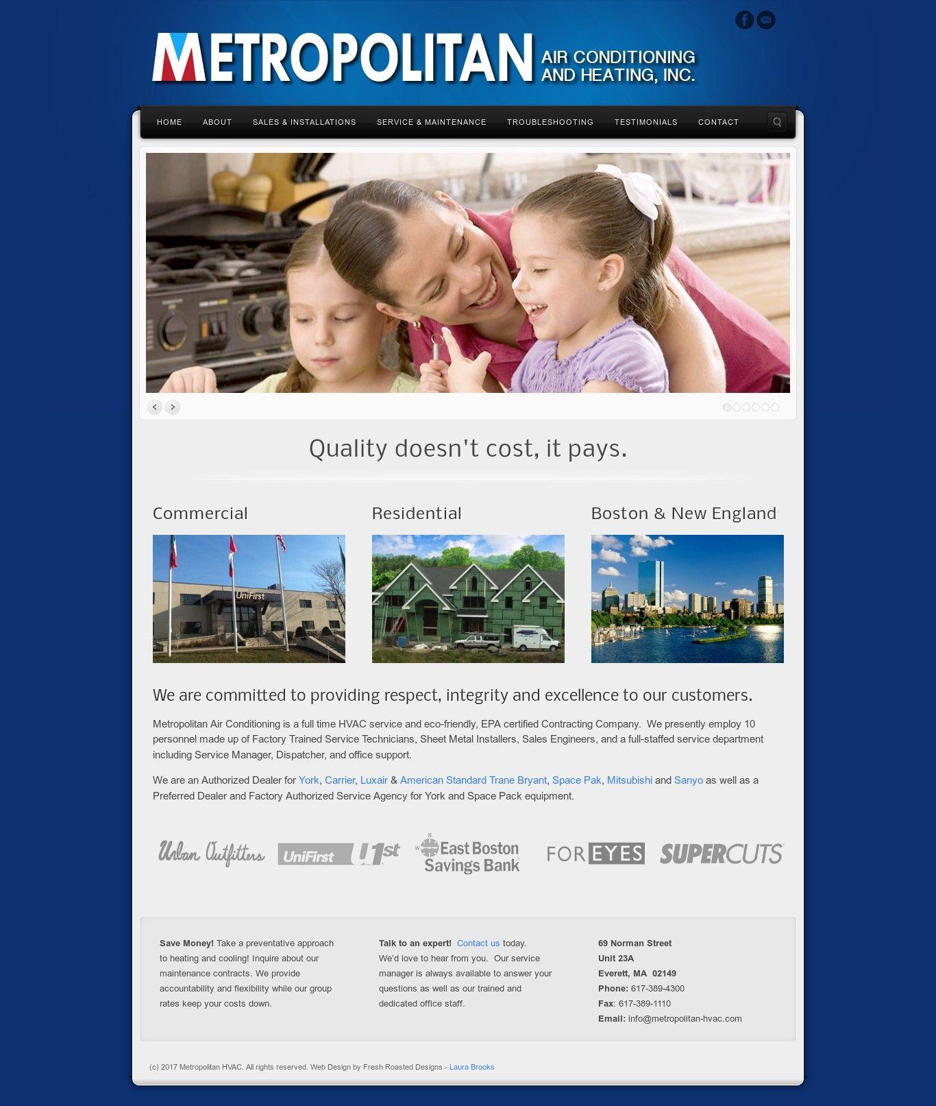 WordPress site metropolitan-hvac.com uses the Wordpress template ...