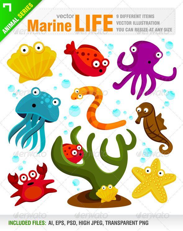 Handmade sea life die cuts octopus crab shark seaweed starfish toppers